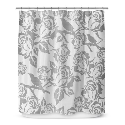 Metallic Garden 72 Shower Curtain Color: Ivory / Gray