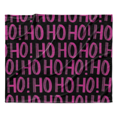 Ho ho ho Throw Blanket Size: 90 W x 90 L, Color: Black