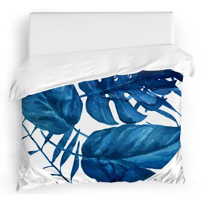 Blue Leaf Duvet Cover Size: Full/Queen