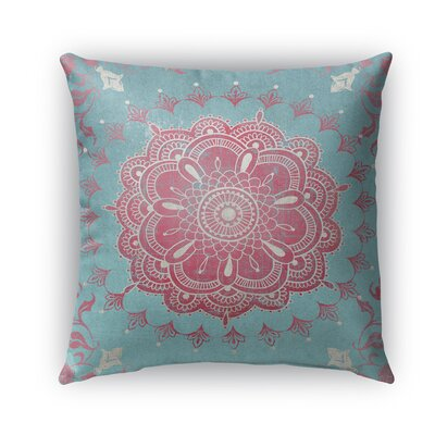 Boho Bloom Burlap Indoor/Outdoor Throw Pillow Size: 26 H x 26 W x 5 D, Color: Pink/ Blue