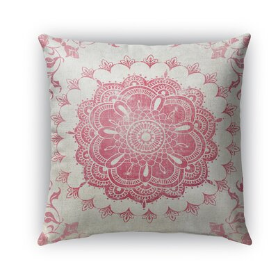 Boho Bloom Burlap Indoor/Outdoor Throw Pillow Size: 26 H x 26 W x 5 D, Color: Pink/ Ivory