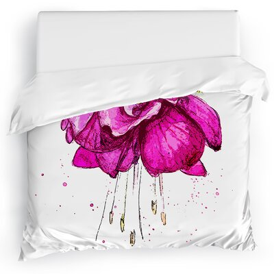 Draping Flower Duvet Cover Size: King