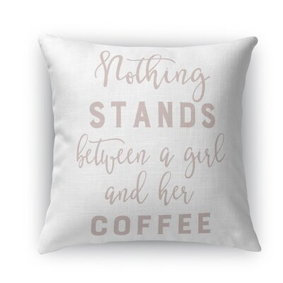 Girl and Coffee Indoor/Outdoor Throw Pillow Size: 18 H x 18 W x 5 D