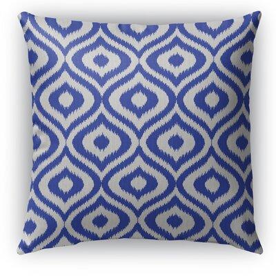 Ikat Ogee Burlap Indoor/Outdoor Throw Pillow Size: 18 H x 18 W x 5 D, Color: Blue