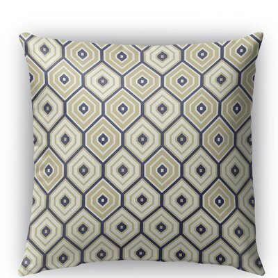 Honey Comb Indoor/Outdoor Throw Pillow Size: 18 H x 18 W x 5 D, Color: Gold/Blue