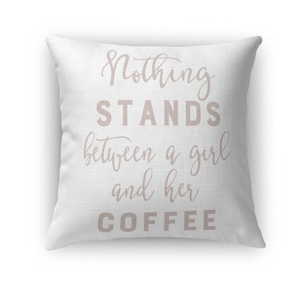 Girl and Coffee Throw Pillow Size: 24 H x 24 W x 5 D