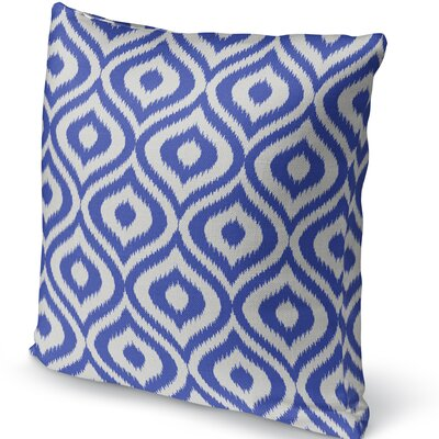 Ikat Ogee Accent Pillow Size: 24 H x 24 W x 5 D, Color: Blue/ Ivory
