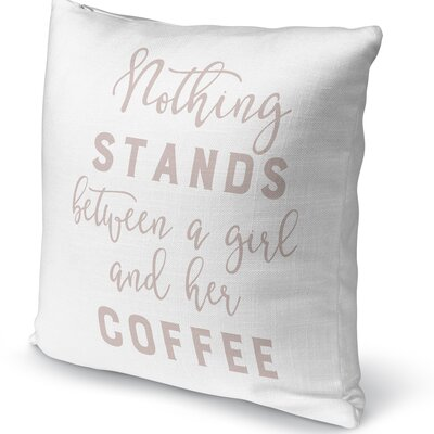 Girl and Coffee Accent Pillow Size: 16 H x 16 W x 5 D