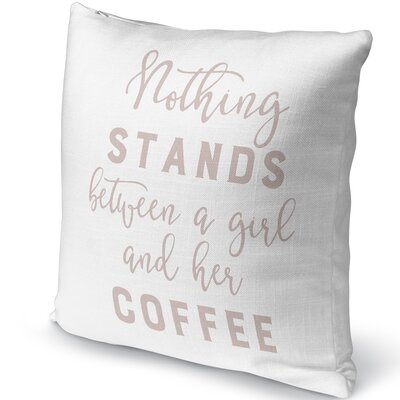 Girl and Coffee Indoor/Outdoor Pillow Size: 18 H x 18 W x 5 D