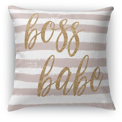 Bossbabe2 Burlap Indoor/Outdoor Throw Pillow Size: 26 H x 26 W x 5 D