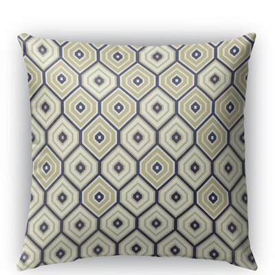 Honey Comb Burlap Indoor/Outdoor Throw Pillow Color: Gold/Blue, Size: 18 H x 18 W x 5 D