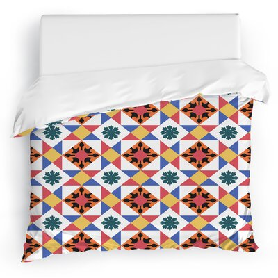 Jonie Tiles Duvet Cover Color: Red/White/Blue/Orange, Size: Full/Queen