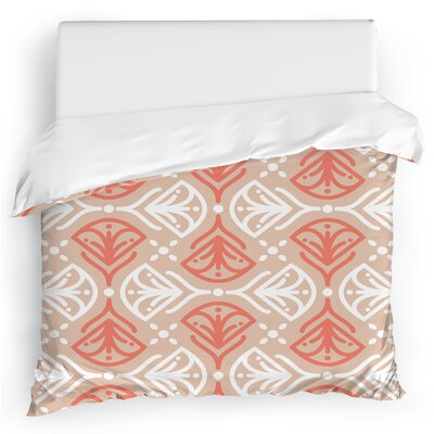 Kissing Tulips Duvet Cover Size: Full/Queen, Color: Taupe/Blush/White