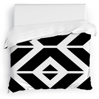 Montilla Duvet Cover Size: Twin, Color: Black/White