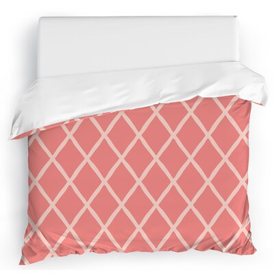 Lattice Work Duvet Cover Size: Twin, Color: Pink/Ivory