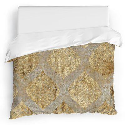 Dancing Damasks Duvet Cover Size: Full/Queen, Color: Gold/Tan