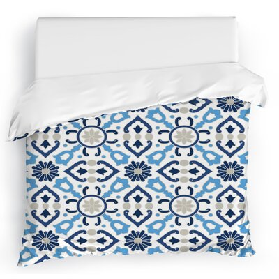 Kaleidoscope Duvet Cover Color: White/Blue/Gray, Size: Full/Queen