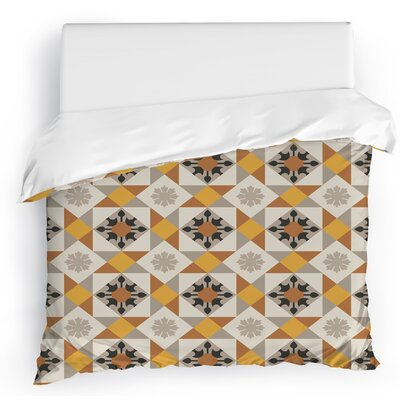 Jonie Tiles Duvet Cover Size: Full/Queen, Color: Tan/Yellow/Brown/Gray