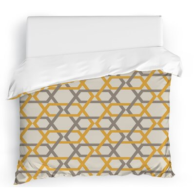 Sliding Hexagons Duvet Cover Size: Full/Queen, Color: Gray/Ivory/Gold
