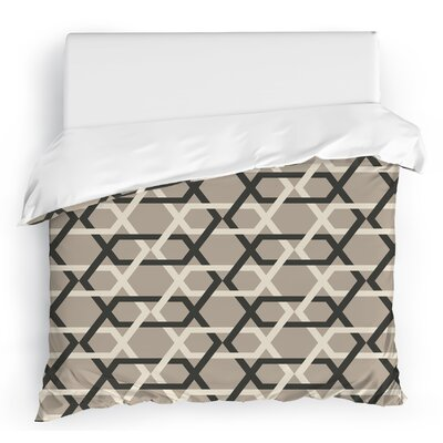 Sliding Hexagons Duvet Cover Color: Gray/Ivory, Size: Full/Queen