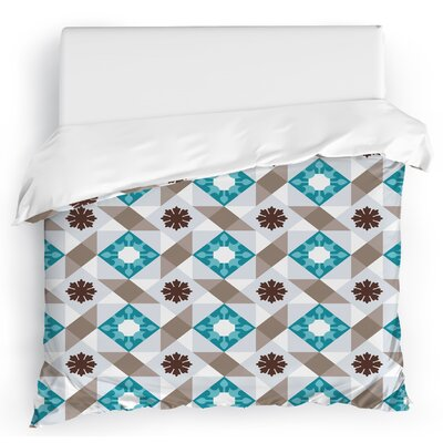 Jonie Tiles Duvet Cover Size: Full/Queen, Color: Gray/Blue
