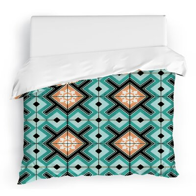 Tiles Duvet Cover Color: Blue/Aqua/Orange, Size: Full/Queen