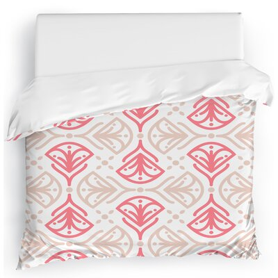 Kissing Tulips Duvet Cover Size: Twin, Color: Pink/White/Tan
