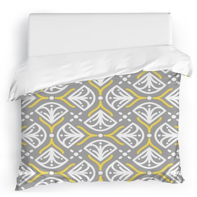Kissing Tulips Duvet Cover Size: Twin, Color: Gray/Yellow/White
