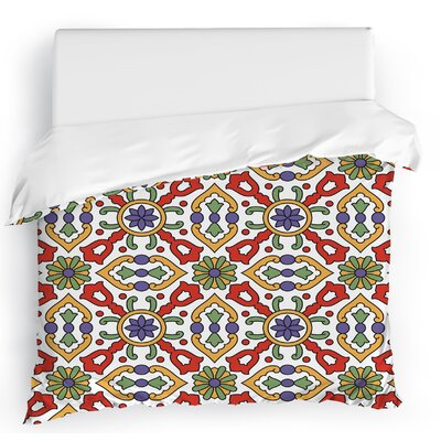 Kaleidoscope Duvet Cover Size: Twin, Color: Red/Green/Gold/White