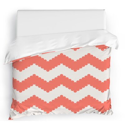 Play Chevron Duvet Cover Color: Blush/White, Size: King