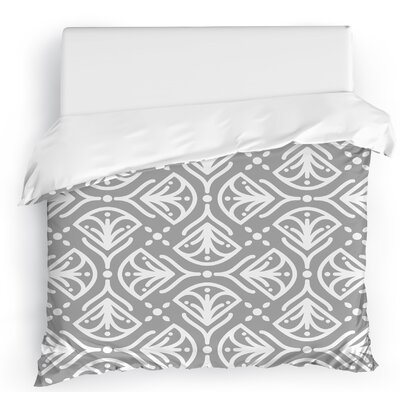 Kissing Tulips Duvet Cover Size: Full/Queen, Color: Gray/White