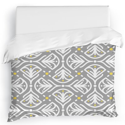 Kissing Tulips Duvet Cover Color: Gray/Yellow, Size: Full/Queen