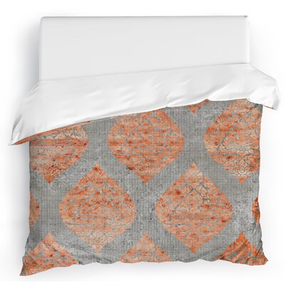 Dancing Damasks Duvet Cover Color: Gray/Orange, Size: Full/Queen
