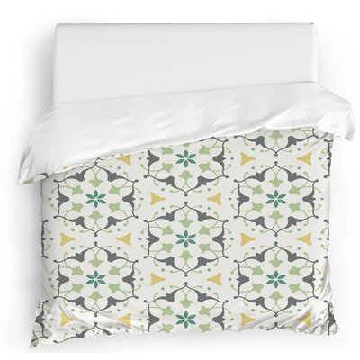 Jardin Duvet Cover Size: Full/Queen, Color: White/Gray/Yellow