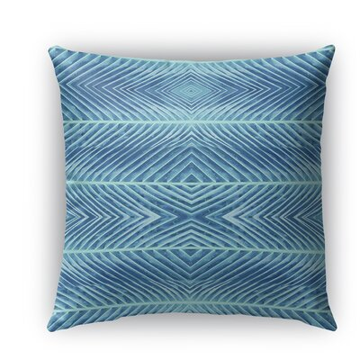 Palms Indoor/Outdoor Throw Pillow with Zipper Color: Blue, Size: 16