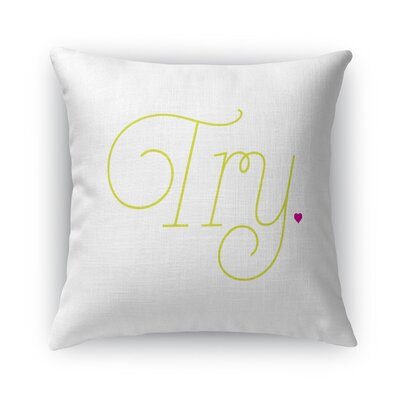 Try Burlap Throw Pillow Size: 16 H x 16 W x 5 D, Color: White
