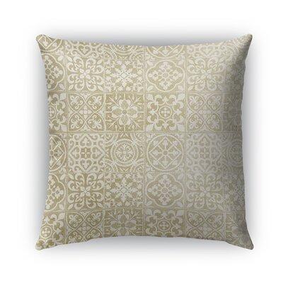 Tiles Burlap Indoor/Outdoor Throw Pillow Size: 16 H x 16 W x 5 D, Color: Beige