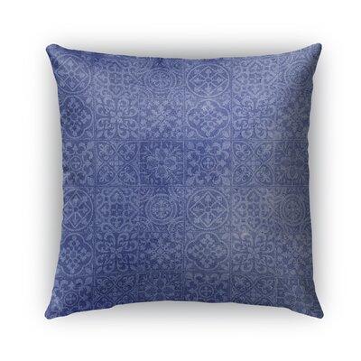 Tiles Burlap Indoor/Outdoor Throw Pillow Color: Blue, Size: 18 H x 18 W x 5 D