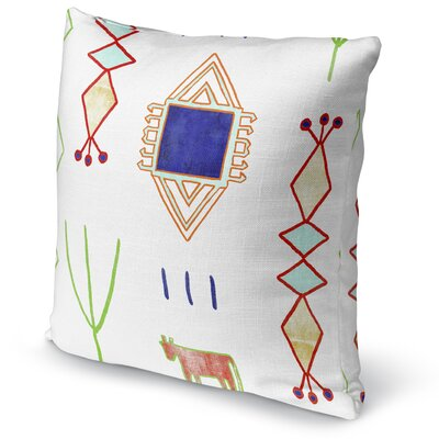 Chrarda Accent Pillow Size: 18 H x 18 W x 5 D, Color: Teal/ Purple/ Gold/ Green