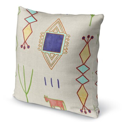 Chrarda Burlap Indoor/Outdoor Pillow Size: 16 H x 16 W x 5 D, Color: Yellow/ Green/ Teal/ Purple