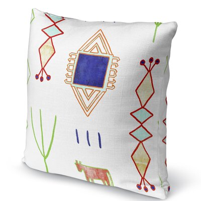 Chrarda Burlap Indoor/Outdoor Pillow Size: 16 H x 16 W x 5 D, Color: Teal/ Purple/ Gold/ Green