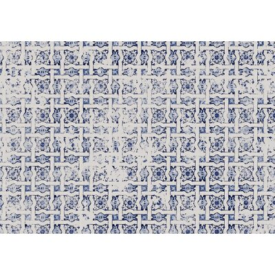 Blue Tile Distressed Area Rug Rug Size: 2 x 3