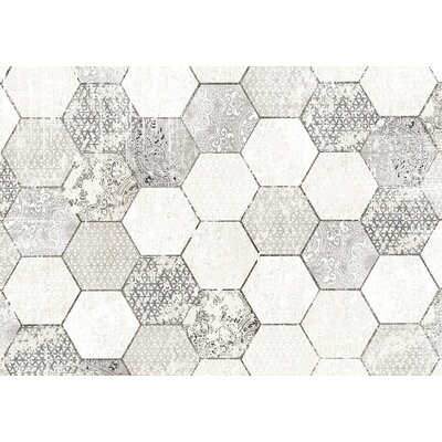 Hexa Gray/White Area Rug Rug Size: 2 x 3