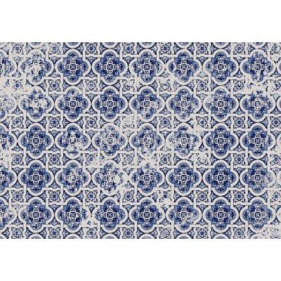 Blue Tile Area Rug Rug Size: 2 x 3
