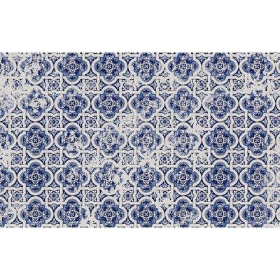 Blue Tile Area Rug Rug Size: 3 x 5