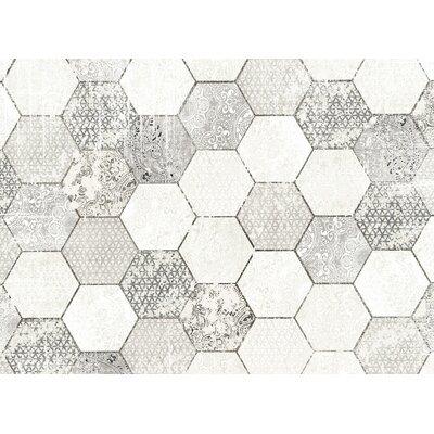 Hexa Gray/White Area Rug Rug Size: 5 x 7