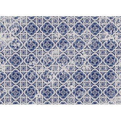 Blue Tile Area Rug Rug Size: 5 x 7