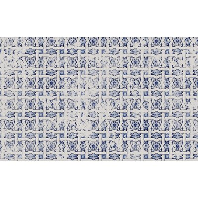Blue Tile Distressed Area Rug Rug Size: 3 x 5