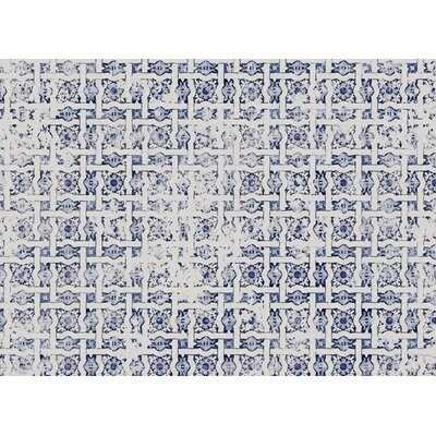 Blue Tile Distressed Area Rug Rug Size: 5 x 7