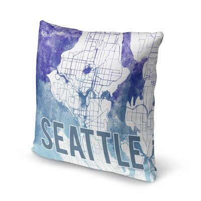 Seattle Sunset Front Accent Pillow Size: 16 H x 16 W x 5 D, Color: Blue/ Purple/ White